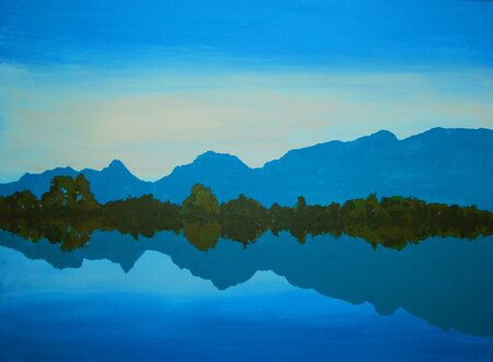 """Lake View"" 36"" x 48"" Acrylic painting on heavy gallery wrapped canvas"